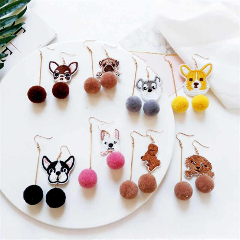 Accessories Earrings factory wholesale animal animals Teddy dog fur ball asymmetric earrings without pierced ear clip wholesale