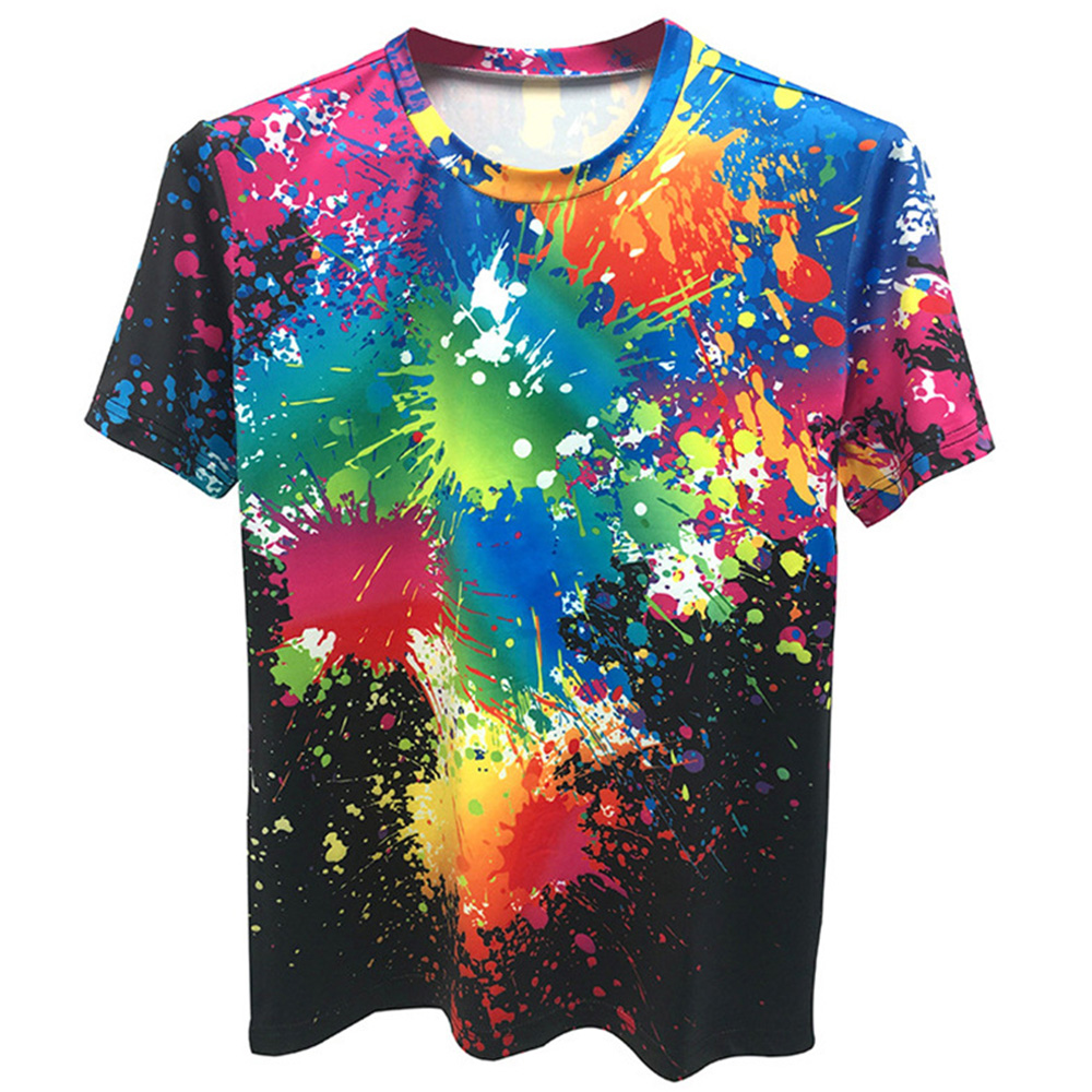2019 Summer Short Sleev T Shirt Splash Ink Paint 3D Printing Funny Colorful Men Women O Neck Tee Shirt Novelty Personality Tops in T Shirts from Men 39 s Clothing