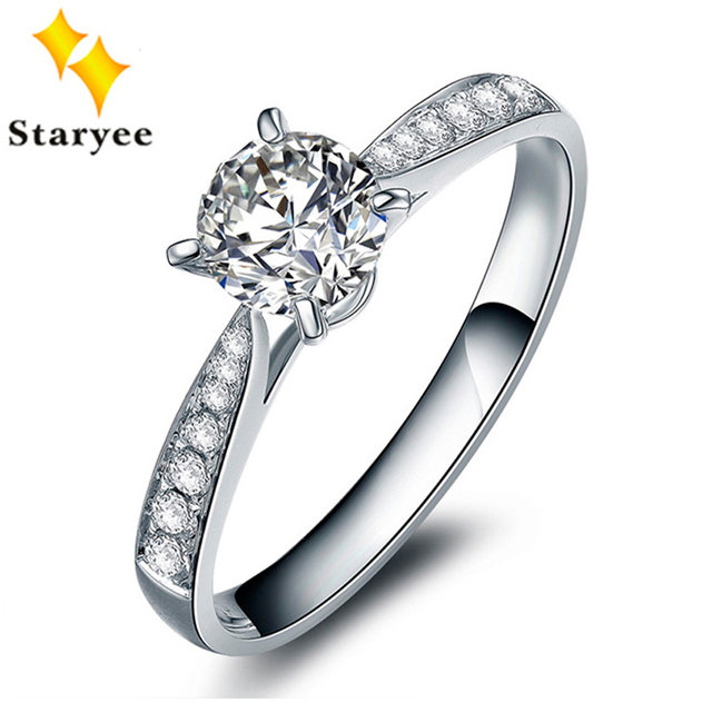 Certified 0.5CT VS D Color Charles Colvard Moissanite Engagement Wedding Ring For Women Solid 18Karat White Gold Diamond Accents