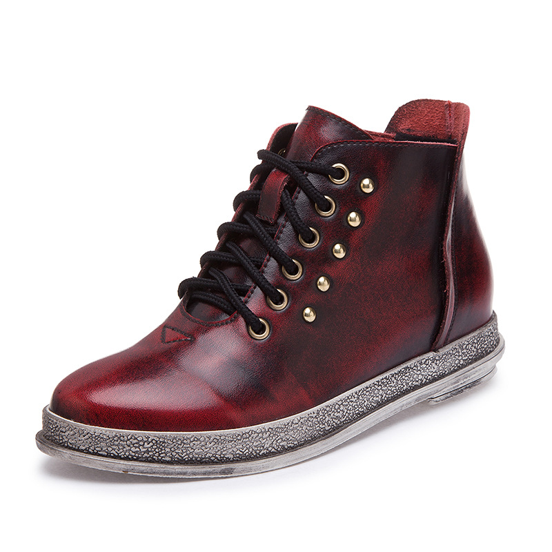 2016 New Genuine Leather Women Boots Flat Womens High-top rivet Retro Autumn Winter Women Ankle boots Woman