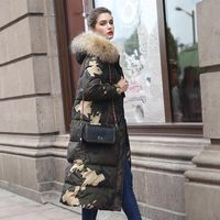 Luxury Women's Jackets X long Army Green Printed Duck Down Parka Fur Hooded 2017 Winter Female Outerwear Warm Coats High Quality