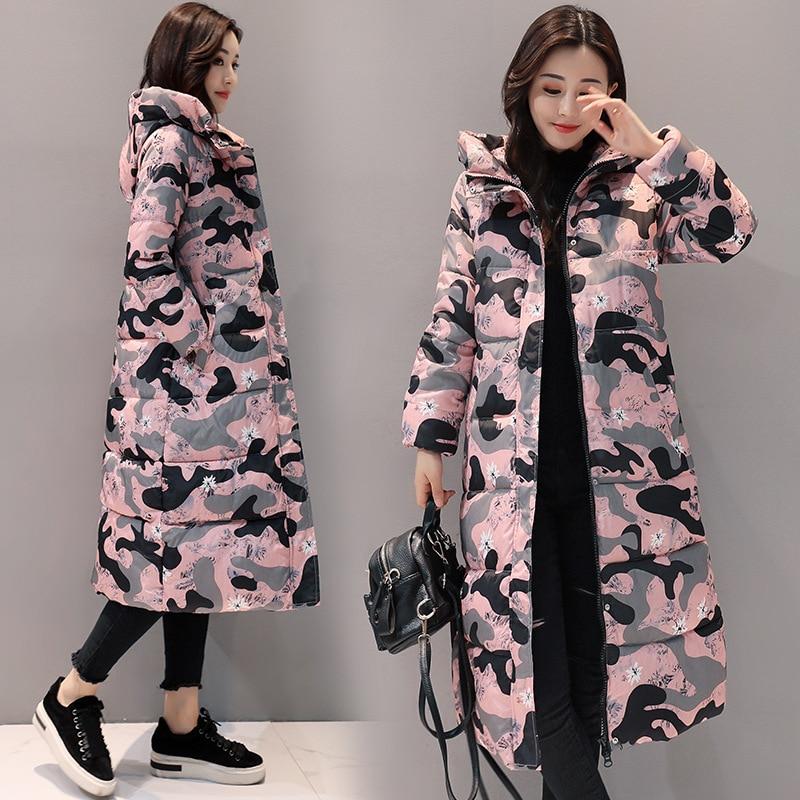 Female Jacket 2018 New Fashion Women Down Jacket Coats Camouflage Pattern Female Cotton Thicken Warm Outerwear Winter Woman Coat