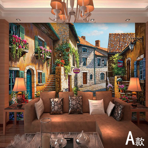 European town mural wallpaper landscape full wall murals for Wallpaper home renovation