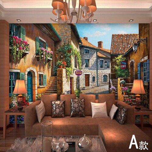 European Town Mural Wallpaper Landscape Full Wall Murals Print Decals Home  Decor Photo Wallpaper(China