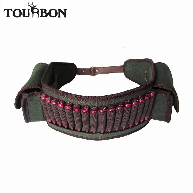 Tourbon Hunting Gun Accessories Rifle Cartridge Belt 410GA Ammo Holder Canvas Bandolier 2 Pockets 16 Rounds Length 30'' To 50''