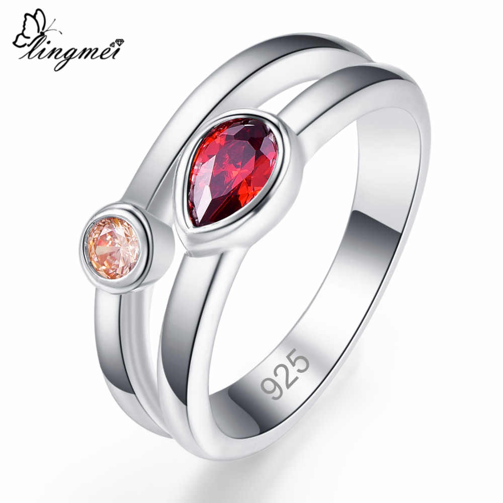 lingmei Wedding Band Red & Yellow & Pink & Purple Zircon Silver Color Ring Size 6 7 8 9 Classic Fashion Unisex Party Jewelry
