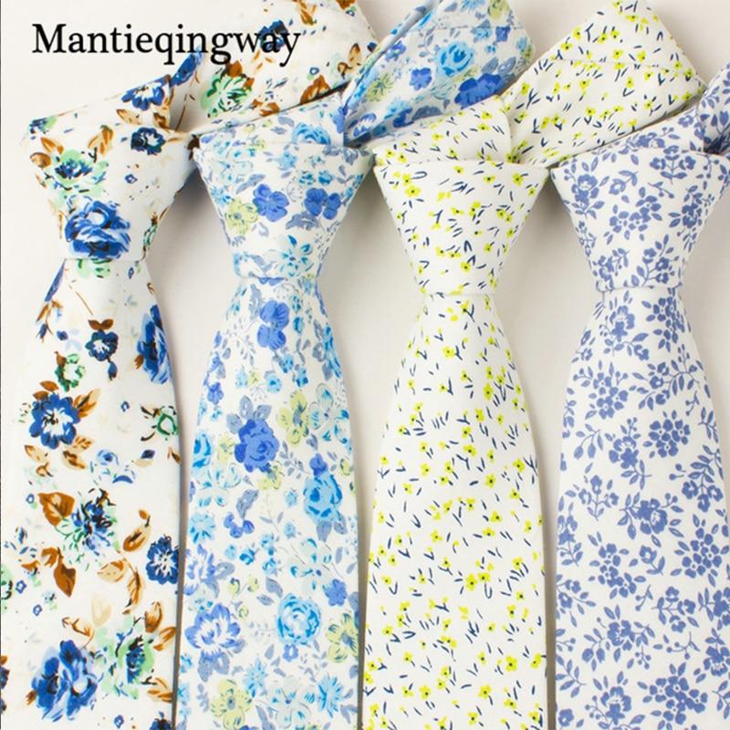 Mantieqingway 6 سنتيمتر الرجال القطن ربطة العنق الدعاوى التجارية العلاقات الزفاف طباعة الأزهار برقبة التعادل ماركة نحيل gravatas هدية
