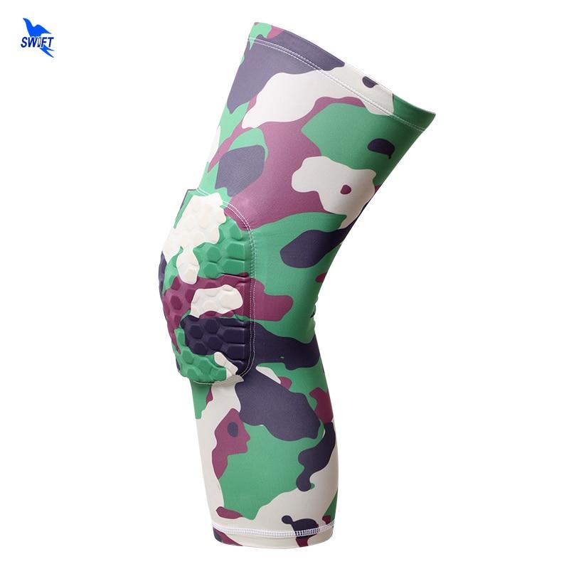 2pcs/lot New Camouflage Basketball Knee Pads Sports Safety Knee Calf Leg Sleeve Honeycomb Pad Kneelet Guard Protective Kneepad