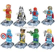 Hot sale 10sets D The Avengers Super heroes Crystal Transparent Building Brick Blocks Minifigures