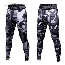 Laamei Compression Leggings Skinny Pants Breathable Tights Fit Cool Sweatpants Leggings Men Printing Pants Legging Trousers(China)