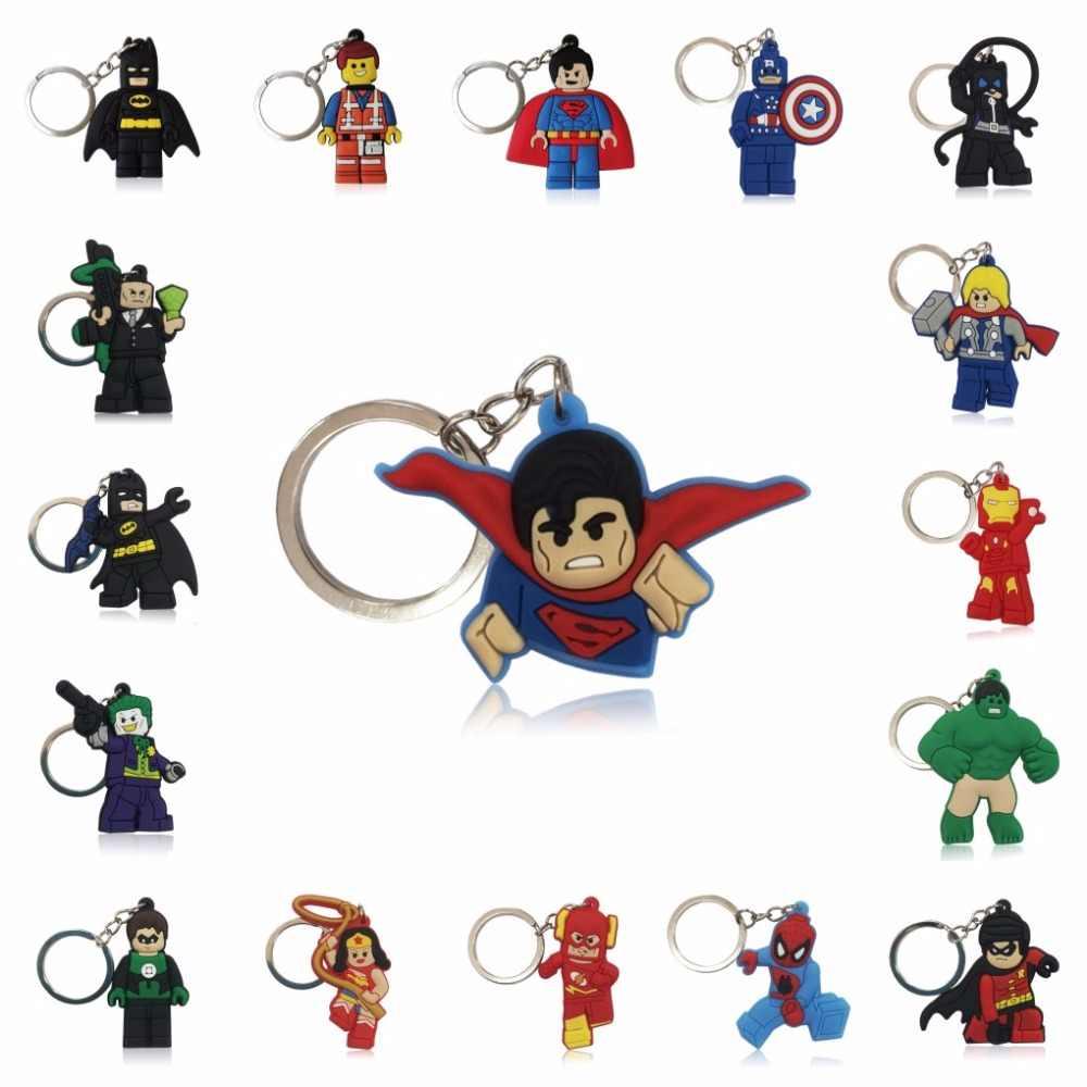 1 шт., Супергерой Халк, Супермен, Бэтмен, Человек-паук, мультяшная фигурка, брелок для ключей, детская игрушка, подвеска, брелок, держатель для ключей, рождественский подарок