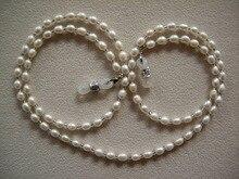 Collier de lunettes perlée en eau douce, véritable perle, porte collier pour chaîne, lanière pour lunettes de soleil, fait à la mode