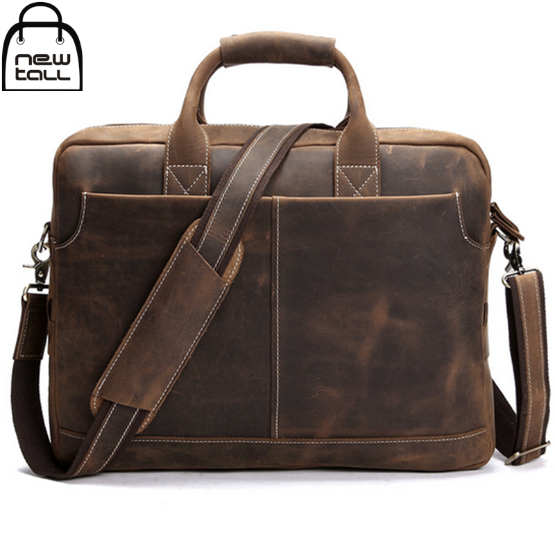 0fb579f08b  NEWTALL 2017 Men s Genuine Leather Business Briefcases Crazy Horse Leather  Shoulder Bag Restoring Ancient Briefcase Bag B1147-in Crossbody Bags from  ...