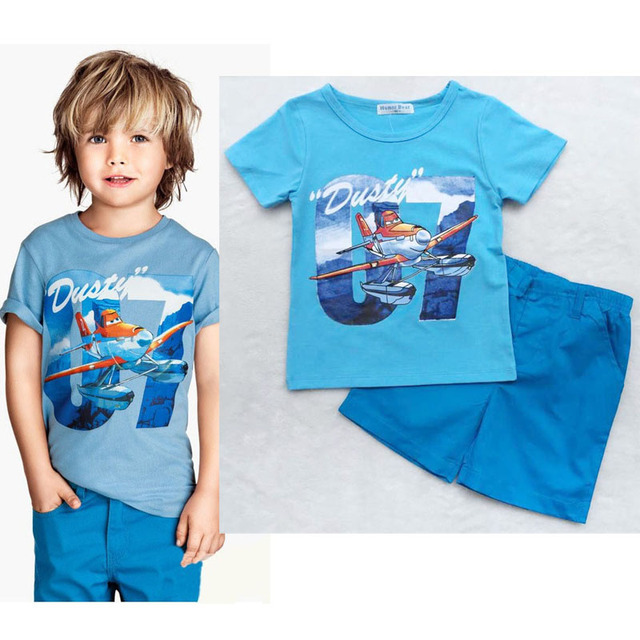 New Arrival Summer Baby Boy Clothing Set Short Sleeve Cartoon Airplane Printed T-Shirt+Shorts 2 Pieces Set Baby Boy Clothes