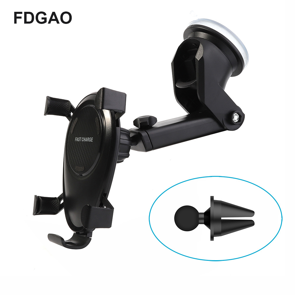 FDGAO 10W Qi Fast Wireless Charger Car Mount Vent Holder For iPhone Xs Max XR Samsung Note 9 S9 Plus+Free 360 Degree Holder