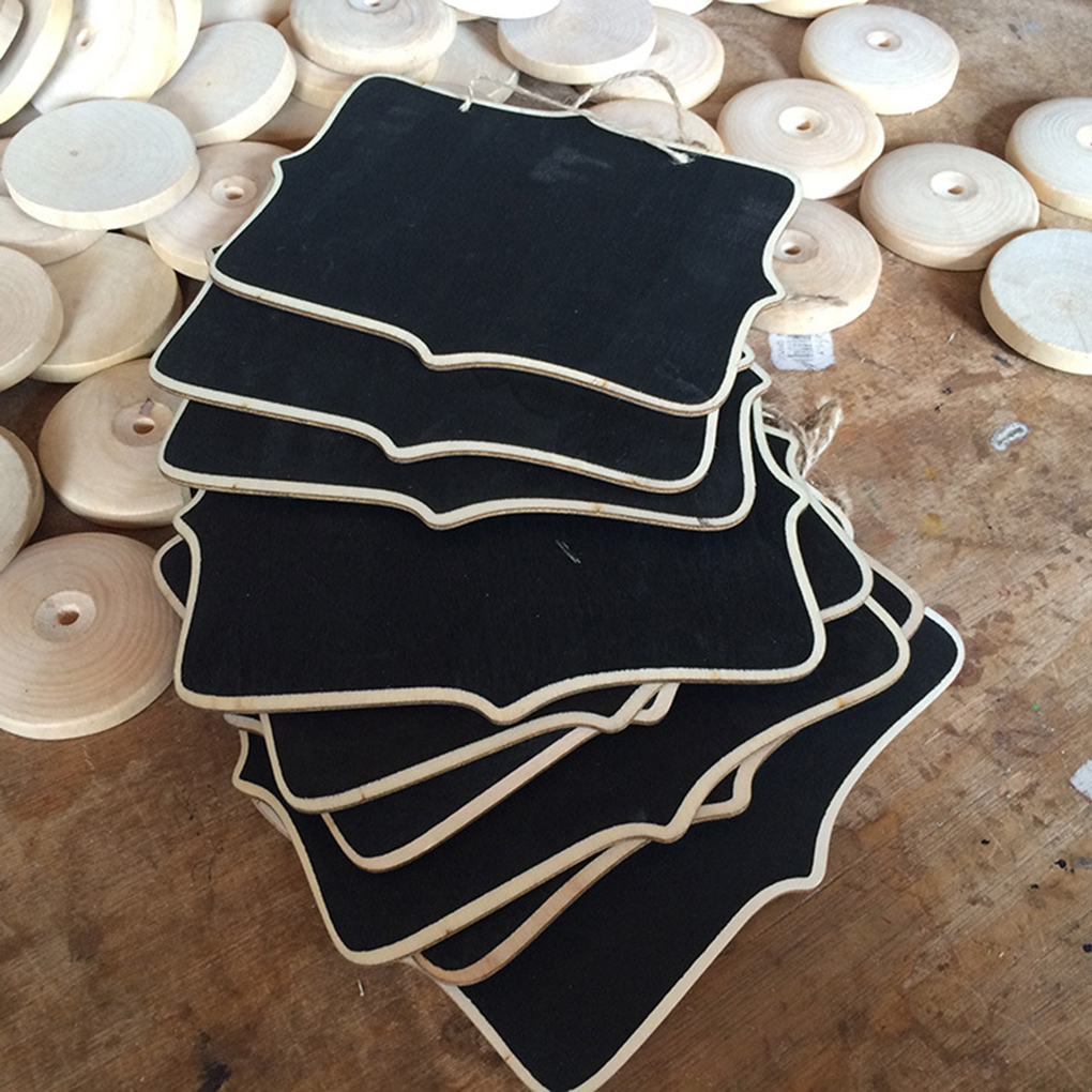 10pcs Mini Wooden Message Board Blackboard Chalkboard With String Burlap Rope Black Board Wedding Home Party Decor Supply