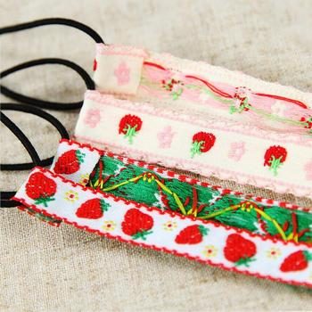 Handmade Flower Floral Headband Cute Cotton And Linen Embroidery Strawberry Hair Band Headwear Women'S 1