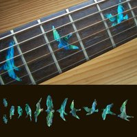 Fret Markers For Guitar Bass Inlay Sticker Decals In Abalone Theme Birds Green Blue With Edge