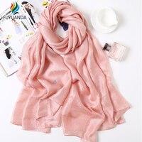 Linen Silk Scarves Designer Sale Ladies Winter Scarf For Women Fall Luxury Brand Office Shawl Poncho