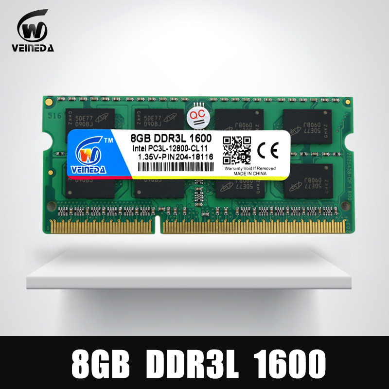 VEINEDA portátil DDR3L 4 GB 8 GB 1600 PC3-12800 204PIN memoria DDR3L 1333 PC3-10600 Sodimm Ram Compatible Intel ddr3 placa base