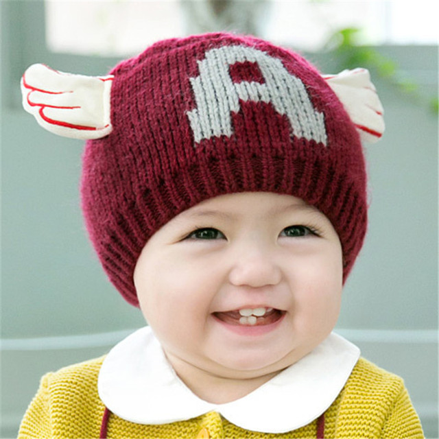 Baby Girl Boy Winter Hats Letter A Patterns Knit Hat Cute Angel Wings Crochet Beanies Toddler Infant Caps Children Accessories Infant Cap Crochet Beaniecrochet Beanie Pattern Aliexpress
