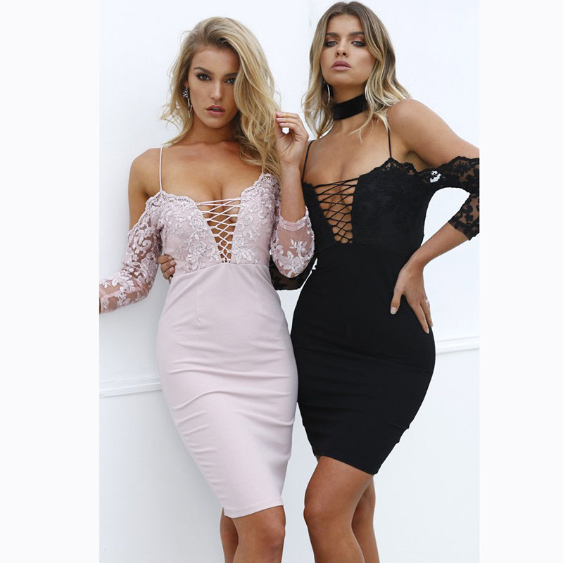 Women Elegant Wedding Party dresses Sexy Night Club hot Sweet Hallow Out cross Lace Dress strap sheath half sleeve Slim Dresses