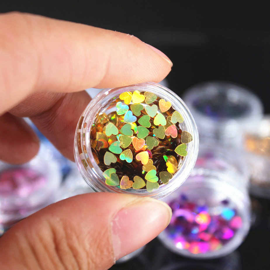 (1Pcs/Sell) 12Color Heart Nail/Body/Eye Glitter Powder Laser Paillettes Shining DIY Nail Art Women Superfine Decorations Fashion