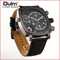 Oulm Brand Wristwatch Military Sports Men's  Dual Time Zone Quartz  Analog Hour Dial Leather Wrist Watches Sale New Relogio