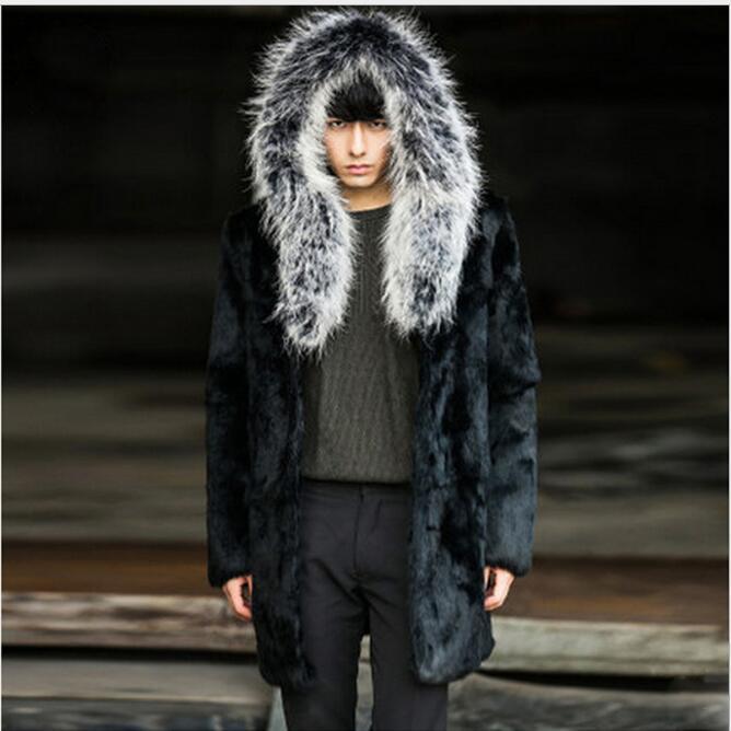 S 6XL!!! 2018 European and American fur men's fur coat imitation mink hair raccoon fur long hat