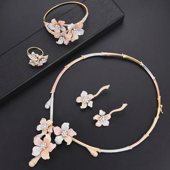 missvikki Original Brand Gorgeous Blooming Flowers Sweet Roamntic 4 PCS Jewelry Set For Women Girl Noble Valentine's Day gift