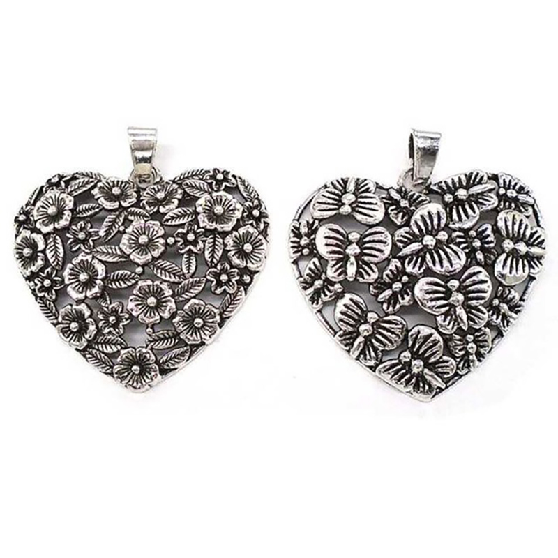 2 x Antique Silver Tone Butterfly Flower Leaf Heart Charms Pendants for Necklaces Jewelry Making Findings 67x60mm in Pendants from Jewelry Accessories