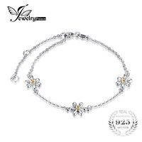 JewelryPalace Fleur 0.1ct Créé Orange Sapphire Cheville Bracelet 925 Sterling Argent Chaîne Lien Bracelets À La Mode Pour Les Femmes Cadeau