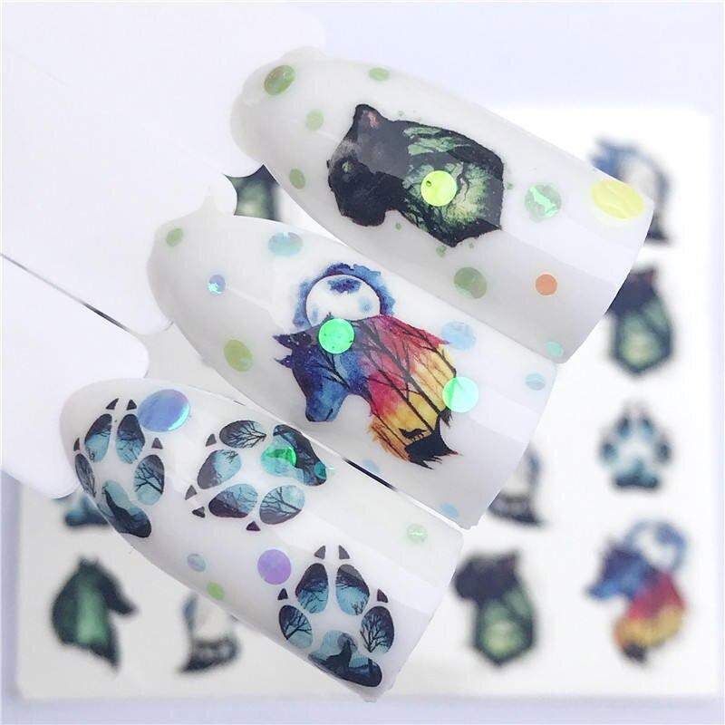 ZKO 1 PC Flor/Animal Designs Transferência de Água Etiqueta Decalques Da Arte Do Prego DIY Moda Wraps Dicas Manicure Ferramentas