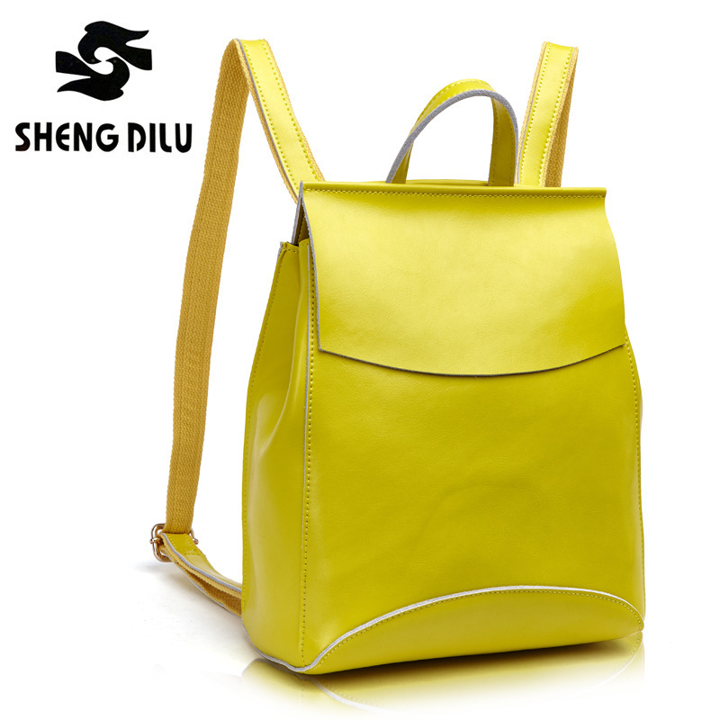 Candy Color Shengdilu brand high quality Real Genuine leather women backpack for teenage girls casual bags female shoulder bags figestin real genuine leather women backpack ladies laptop casual school bags for girls 2017 brand female shoulder