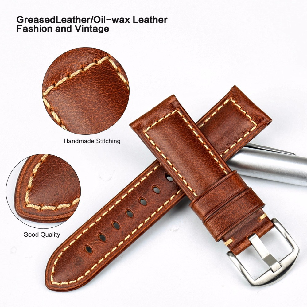 MAIKES Watchband Vintage Oil Wax Leather Strap Watch Bracelet 20mm 22mm 24mm Watch Accessories Watch Band For Panerai Citizen in Watchbands from Watches