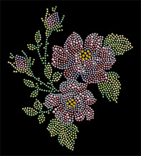 2pc/lot Flower Design Bling hot fix rhinestone motif iron on transfers design stone
