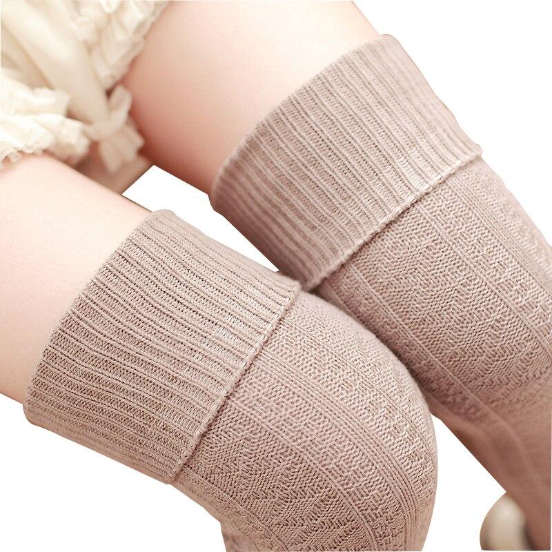 Stockings Underwear & Sleepwears Hot 8 Colors Winter Socks Women High Quality Knitted Stockings Knee Socks Thick Warm Socks Leg Warmers Woman Thigh High Stocking