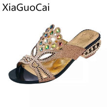 Xiaguocai Crystal Brand Women Slippers Peep Toe Strange Style Sandals  Female Diamond High Heels Summer Party 14cb33f51b6b