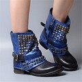 Nueva Moda Otoño Invierno Remaches Mujeres Zapatos Azul Botines de Punta Redonda Tacón Cuadrado de Zapatos de Las Mujeres de La Motocicleta Botas de Cuero Genuino