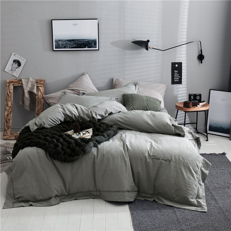 Simple Gray Solid Color 100% Cotton Bedding Set 3 Size Bed Linen 3/4pcs/Set Duvet Cover Set Pastoral Bed Sheet AB Side Bed SheetSimple Gray Solid Color 100% Cotton Bedding Set 3 Size Bed Linen 3/4pcs/Set Duvet Cover Set Pastoral Bed Sheet AB Side Bed Sheet