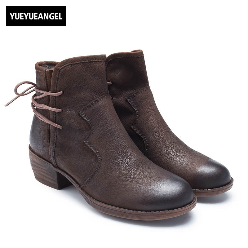 Europe America Real Leather Ankle Boots Women 2018 New Round Toe Thick Heel Martin Boots Top Quality Casual Med Heel Botas Mujer 2018 new tassels punk womens ankle botas retro pointed toe shoes comfort block med heel chelsea boots real leather knight boots
