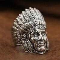 Linsion стерлингового серебра 925 индейского вождя кольцо мужские Байкер в стиле панк рок кольцо ta89 нам Размеры 7 ~ 15