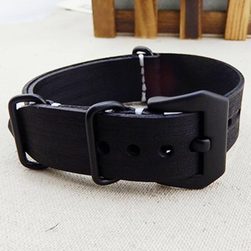 HQ 20/22/24mm Handmade Genuine Leather <font><b>Watch</b></font> <font><b>Strap</b></font> Band <font><b>PVD</b></font> Clasp Buckle For Nato G10 And Tools Watchband image