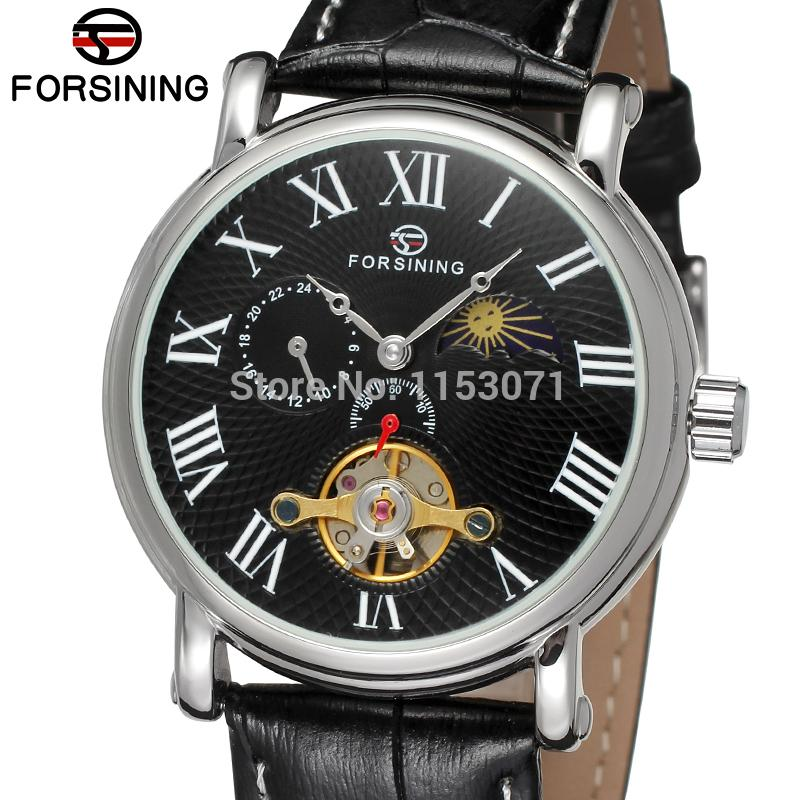 все цены на FSG800M3S6 latest Automatic dress luxury watch for men with moon phase black genuine leather strap gift box free shipping онлайн
