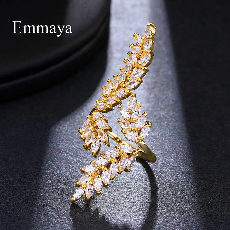 Emmaya ประณีต Shiny Leaf Shape Cubic Zircon แหวนปรับสำหรับผู้หญิงคริสตัลสีทอง Bague ของขวัญเครื่องประดับ Party