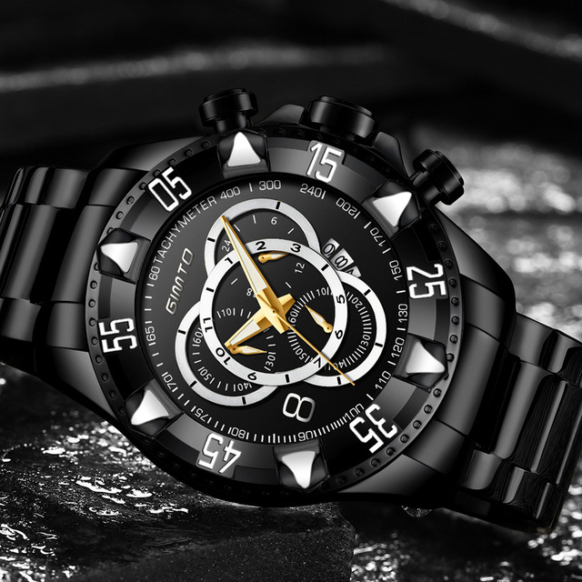 GIMTO Top Brand Men's Luxury Military Stainless Steel Waterproof Calendar Chronograph Quartz Watches 4
