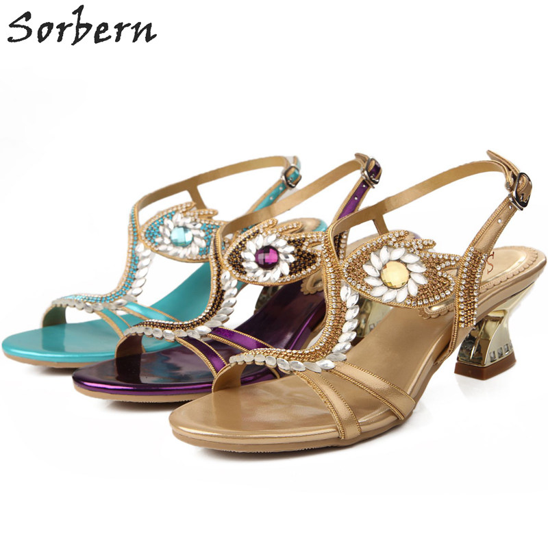 Sorbern Crystal Flower Women Sandals Beading 6CM Sandalia Feminina Sandalias Mujer 2018 Real Image Party Shoes Buckle Strap sorbern women sandals shoes real image pvc clear heels buckle strap 15cm heels crystal sandalias mujer 2018 summer shoes women