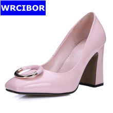 2017 Spring Women's Shoes Genuine leather Square toe High-heeled shoes Lady Thick heels patent leather Single shoes woman Pumps