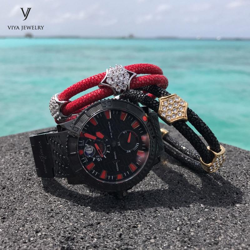 2 Pcs Black&Red Stingray Leather Bracelets Set Customize Leather Cords Bracelets For Friend Best Luxury Friendship Gift With Box friendship bracelets