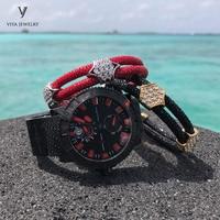 2 Pcs Black&Red Stingray Leather Bracelets Set Customize Leather Cords Bracelets For Friend Best Luxury Friendship Gift With Box